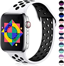 ilopee Sport Band Compatible with Apple Watch Series 5 40mm, Breathable Waterproof Wristbands Strap with Holes for iWatch 38mm Womens Men Series 3 2 1, White/Black, S/M