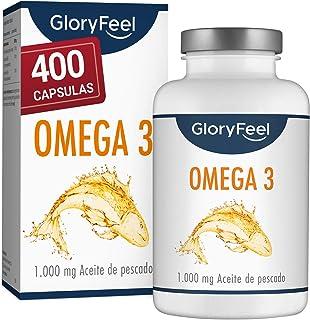 Omega 3 Aceite de Pescado 1000 mg - 400 Cápsulas de gran potencia - Efecto antiinflamatorio y antioxidante - EPA [180 mg] y DHA [120 mg] - Destilado Molecularmente para Mayor Pureza