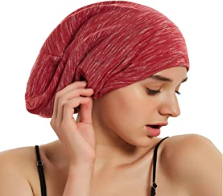 Satin Bonnet Slouchy Sleeping Cap - Extra Large Adjustable Wide Elastic Band Beanie Hat for Curly Natural Long Hair 2019