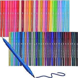 Funien Marqueur de pinceau 60 couleurs, 60 couleurs double pointe pinceau flexible marqueur stylo 0.4mm pointe fineliner e...