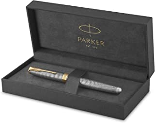 PARKER Sonnet Rollerball Pen, Prestige Chiselled Silver with Gold Trim, Fine Point Black Ink