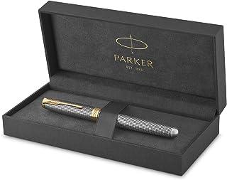 PARKER Sonet Rollerball Pen، Prestige Chiselled Silver with Trim Gold، Fine Point Black Ink