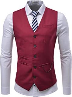 TheLees (RVE) Mens Chain Zipper Pocket 5 Button Slim Vest Waistcoat Red US L(Tag Size 2XL)