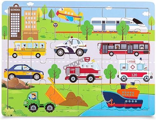 Jouets pour enfants Casse-tête en bois Puzzle intellectuel pour enfants voiturete plate école maternelle Pensée DéveloppeHommest Puzzle Garçon Fille Jouets (taille   A)