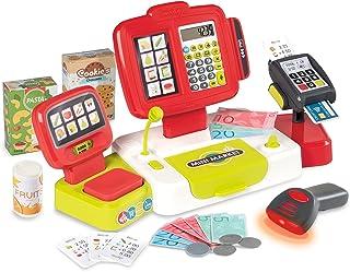 Smoby - Grande Caisse Enregistreuse Rouge - 30 Accessoires - Balance Mécanique - Vraie Calculatrice + Scanner Son et Lumiè...
