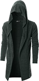 GIVON Mens Long Sleeve Draped Lightweight Open Front Longline Hooded Cardigan