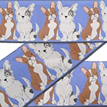 IBA Indianbeautifulart Blue Boston Terrier & Schnauzer Puppy Dog Fabric Laces for Crafts Printed Velvet Trim Fabric Sewing Border Ribbon Trims 9 Yard 4 Inches