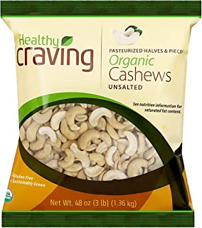 Healthy Craving Organic Cashews, 3lbs I Unsalted, Halves and Pieces, Vegan Snacks, Vegetarian-Friendly, Kosher, Gluten-Free