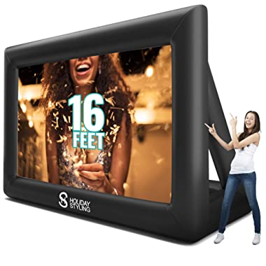 Outdoor Projector Screen – Inflatable Portable Movie Screens for Outside - Premium Grade 200 inch Diagonal (16ft) - Front + Rear Projection Package by Holiday Styling