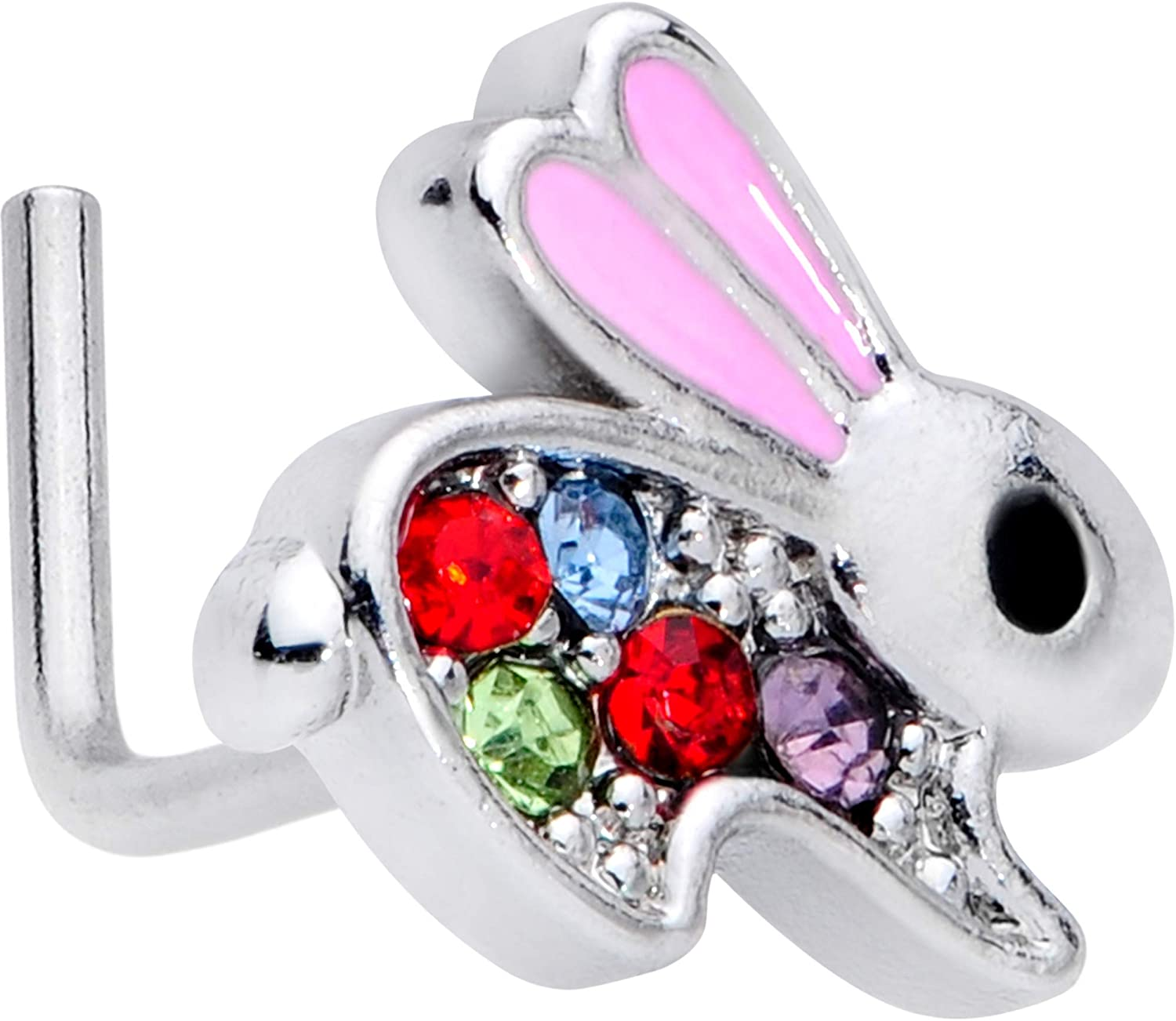 Body Candy Womens 20G Stainless Steel L Shaped Nose Ring Bunny Rabbit Nose Stud Body Piercing Jewelry 1/4