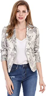 Women's Open Front Crop Floral Print Blazer Jacket