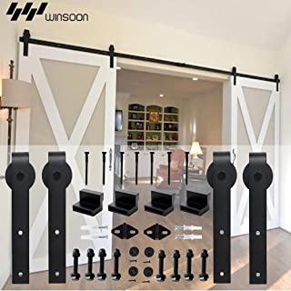 Winsoon 5-18FT Sliding Barn Wood Door Hardware Cabinet Closet Kit Antique Style for Double Doors Black Surface (14FT /168