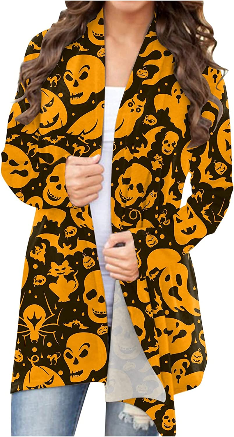 UOCUFY Halloween Cardigan for Women, Womens Funny Cute Pumpkin Cat Ghost Graphic Open Front Top Long Sleeve Blouse Coat