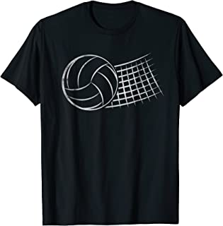 Distressed White print Volleyball and Net graphic Tee Shirt