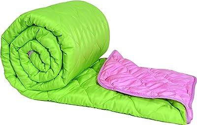 Divine Casa 150 GSM Solid Print Reversible Microfibre Single Bed Comforters Duvets Winters Blanket, Green & Pink