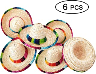 44c31b07 Z 6 Pack Natural Straw Mini Sombrero/Mini Mexican Party Hat, Tabletop