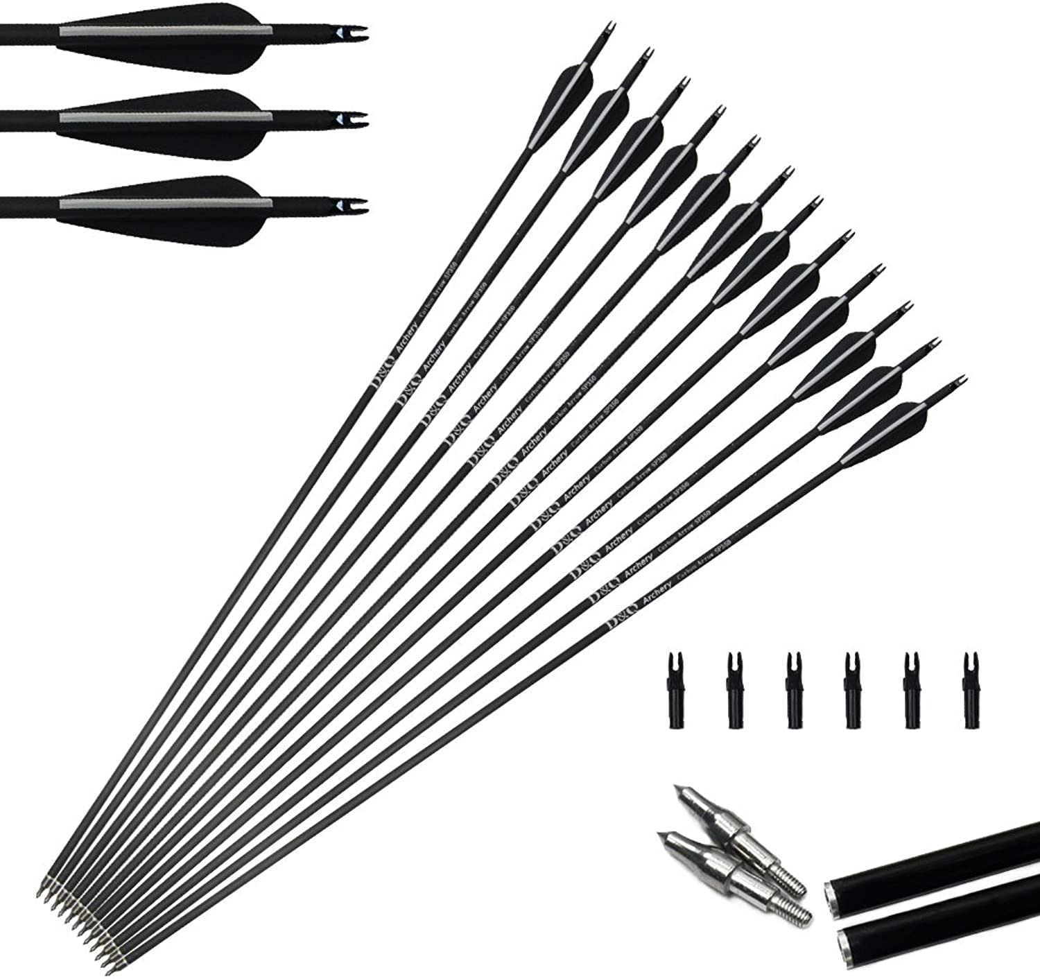 Tongtu 12pcs 32  Carbon Arrows for Recurve Bow Hunting Arrows Targeting with Replacement Tips Screwin