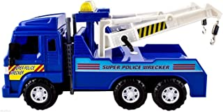 Big Daddy Medium Duty Friction Powered Super Police Wrecker Tow Truck Blue Truck Holiday Toy Truck