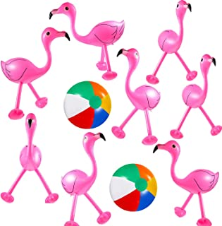 Trounistro 10 Pack Inflatable Flamingo Inflatable Beach Balls for Hawaiian Party Luau Party Accessories