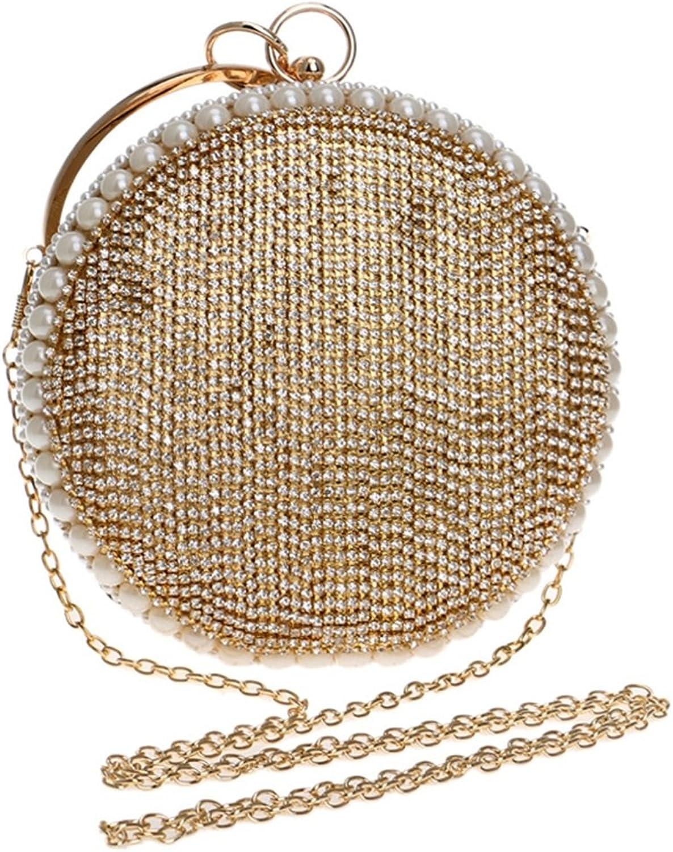 WAVENI Frauen runde Handtasche Tote Clutch Clutch Clutch Geldbörse Strass Abendtasche (Farbe   Gold) B07MPB9JJR  Haltbarer Service 5c5144