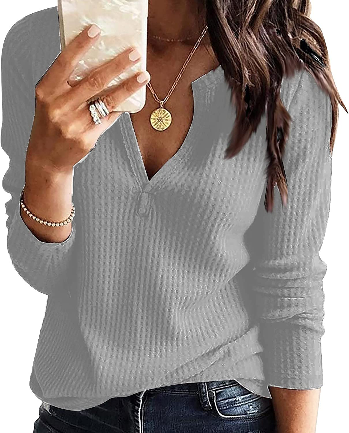 Womens Our shop OFFers the best service Casual Long Sleeve Sweatshirt V-Neck Relaxe Cute Max 40% OFF Pullover