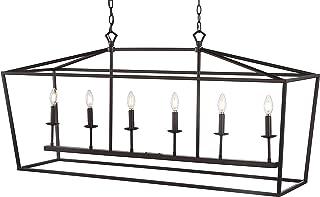 JONATHAN Y JYL7439A Pagoda Lantern Dimmable Adjustable Metal LED Pendant, Classic, Traditional for Dining, Living Room, Ki...