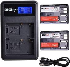 DIGIeye BP-511 BP-511a BP511A Battery - 2 Pack 1800mAh+LCD Dual USB Charger for Canon 30D 40D 20D 50D, Digital Rebel, G5, 50D, 5D, G3, G1, D60, G6, G2, Pro 1, 300D Digital Cameras