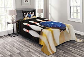Ambesonne Bowling Party Bedspread, Blue Abstract Ball on The Lane Pins Close up View Sports Leisure Time Game, Decorative Quilted 2 Piece Coverlet Set with Pillow Sham, Twin Size, Blue Yellow