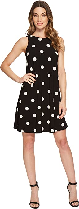 LAUREN Ralph Lauren Suzan Peninsula Dot Matte Jersey Dress