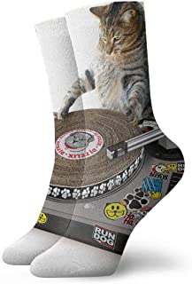 QUEMIN, Cartón Cat Scratch DJ Cushion Crew Calcetines Essential Sport Wicking Work para hombres y mujeres 30cm
