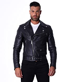 Men's Italian Leather Jacket Black Biker Perfecto