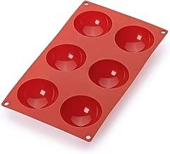 lekue 6تسوس semi-sphere كؤوس الخبز تجويف القالب ، باللون الأحمر