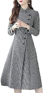 Macondoo Women Fall Winter Outwear Houndstooth Single Breasted Pea Coats