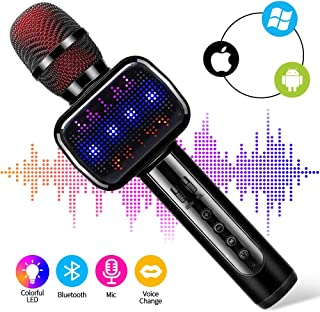 Ksera Wireless Bluetooth Karaoke Microphone with Dynamic LED Light, 4-in-1 Speaker, Recorder, Voice Changer,Portable Handheld Mic for Home KTV/Stage/Party Kids Adults, Compatible with Android IOS PC