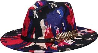 Jixin4you Men Women Vintage Felt Fedora Hat Wide Brim Panama Hats Jazz Cap with Buckle