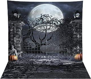 Allenjoy 8x8ft Halloween Themed Photography Backdrop Moonlight Pumpkin Vintage Scary Gate Vampire Horrible Birthday Zombie...
