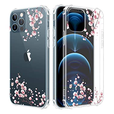 Caka Case for iPhone 12 Pro Max Flower Clear Floral Case for Girls Women Girly Soft TPU Protective Case for iPhone 12 Pro Max 6.7 inches (Plum Flower)