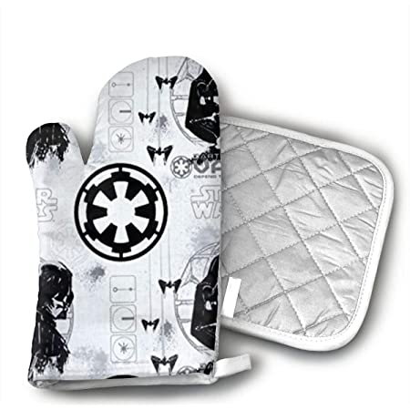 antcreptson Black War and Star Space Oven Mitts and Pot Holders 2pcs Set, 500 Degrees Heat Resistant Soft Lining with Non-Slip Surface Oven Gloves Perfect for Kitchen Baking BBQ Grilling