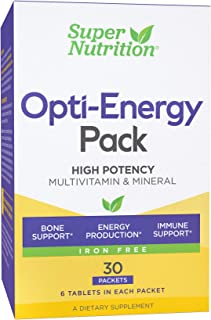 SuperNutrition, Opti-Energy Multi-Vitamin Pack, Iron Free, High Potency, 6/Day Tablets, 30 Day Supply