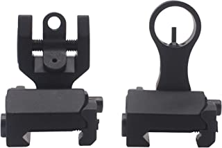 AWOTAC Flip Up Front Rear Backup Iron Sight Set with Elevation Window Fit 21mm Rails