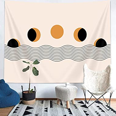 NYMB Boho Moon Phase Tapestry, Retro Mid Century Modern Style Moon Ocean Wall Tapestry, Vintage Abstract Natural Minimalist A