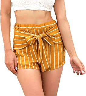 UUGYE Womens Stripe Summer Elastic Waist Bow Tie Shorts with Pockets