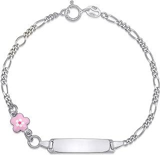 Sterling Silver 925 Childrens Engravable ID Bracelet Figaro Chain Enamel Charm Italy 6.5