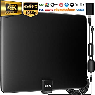Biling TV Antenna for Digital TV Indoor, 90-130 Miles Digital Antenna Indoor Amplified HD Antenna, Digital HDTV Antenna Long Range with Amplifier Signal Booster - 13.2ft Coax Cable/USB Power Adapter