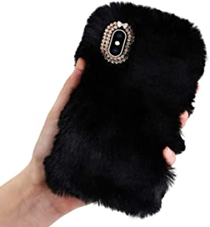 Plush Case for Samsung Galaxy S7 Edge Rabbit Fur Case,LCHDA Samsung Galaxy S7 Edge Bunny Furry Fluffy Fuzzy Phone Case Girl Cute Winter Warm Hair Soft TPU Back Cover with Luxury Diamond Bowknot-Black