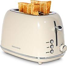 توستر REDMOND 2 Slice Toaster Retro از جنس استنلس استیل با Bagel ، لغو ، عملکرد یخ زدایی و 6 تنظیمات سایه نان توستر نان ، شیار فوق العاده گسترده و سینی خرده متحرک ، کرم ، ST028