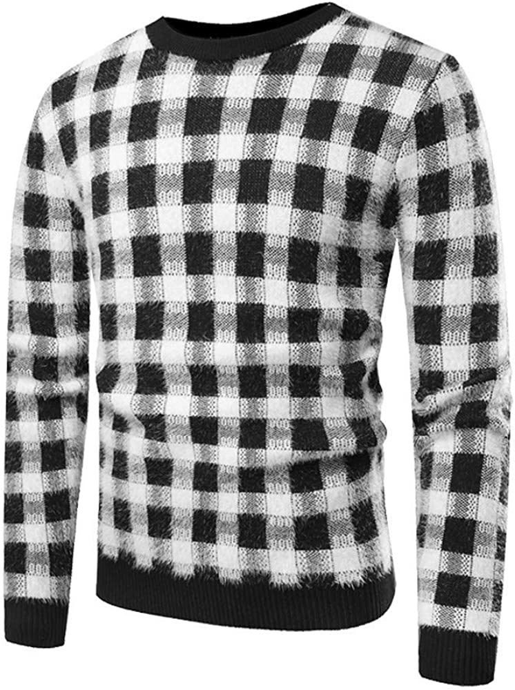 MODOQO Men's Sweater O-Neck Long Sleeve Plaid Striped Pullover Tunic Outwear