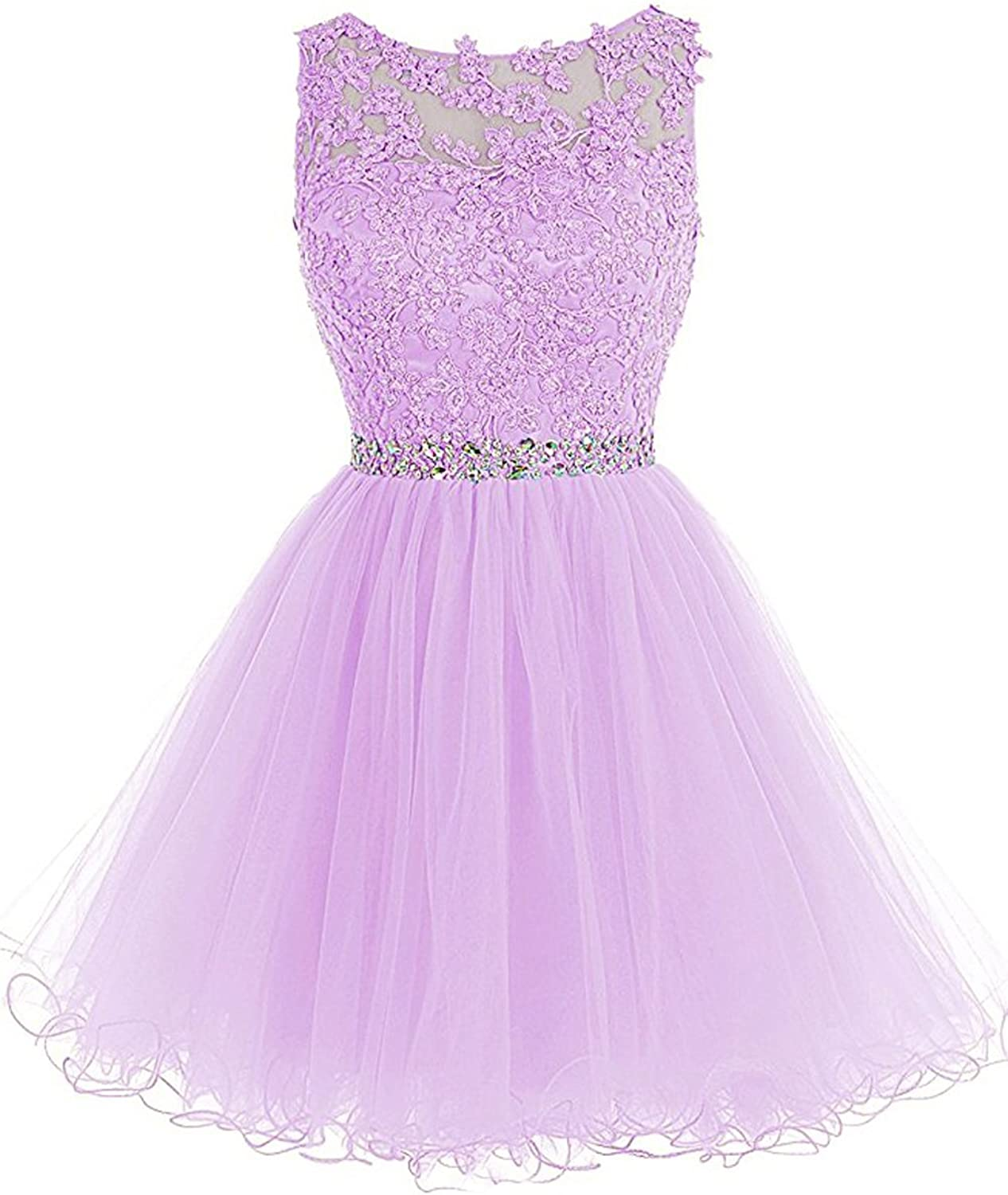 LL Bridal Juniors A line Sheer Neck Beaded Prom&Homecoming Cocktail Dress Ball Gown