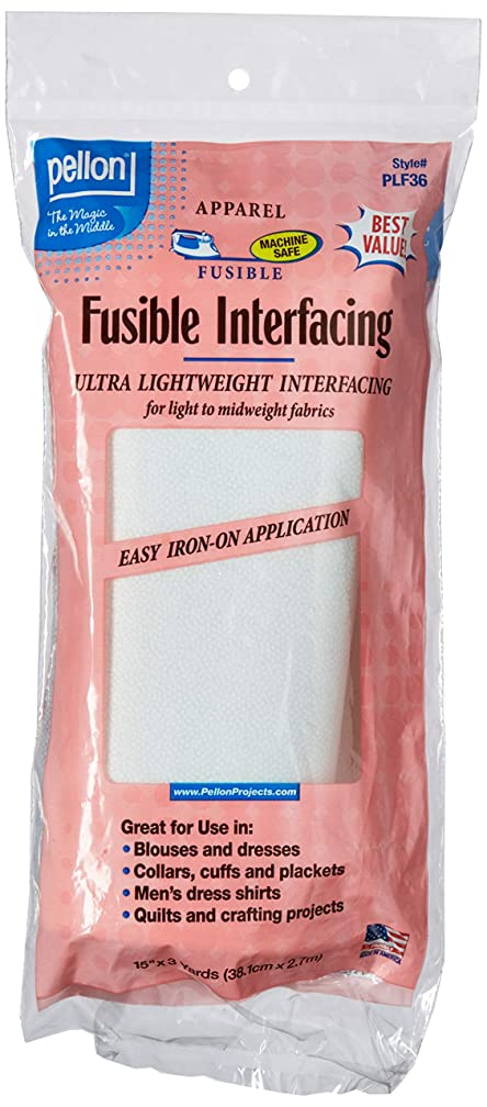Pellon PLF36 Ultra Lightweight Fusible Interfacing, White, 15