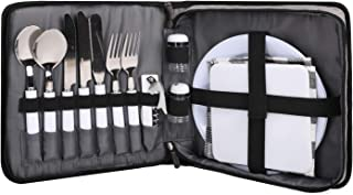 TAIBID Picnic Set Camping Silverware Cutlery Organizer 2 Person Dinnerware Set - 13pcs Eating Utensils Set with ECO-Friend...